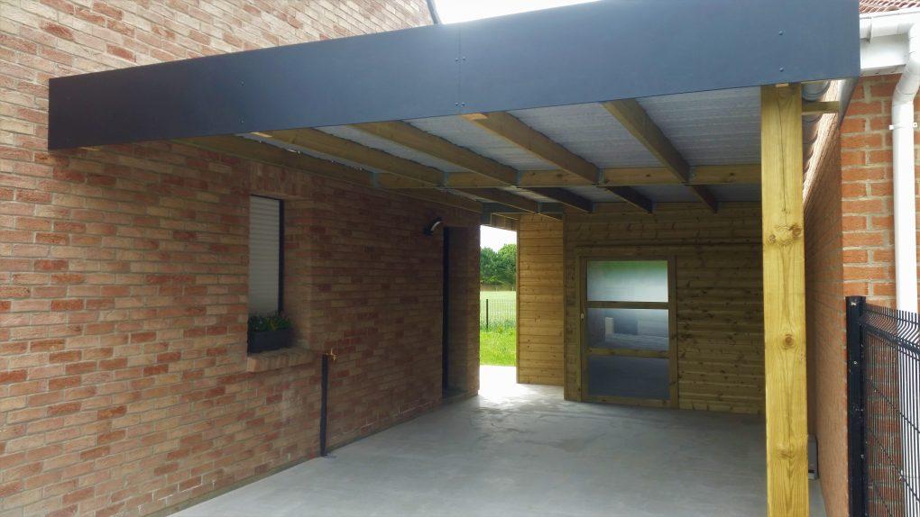 Carport en bois avec abri de jardin secteur marchiennes orchies lille wood conception - Carport avec abri de jardin integre ...