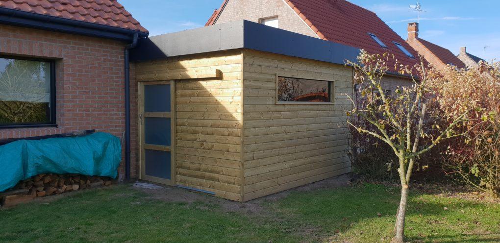 Carport en bois avec abri de jardin secteur hasnon lille valenciennes wood conception - Carport avec abri de jardin integre ...