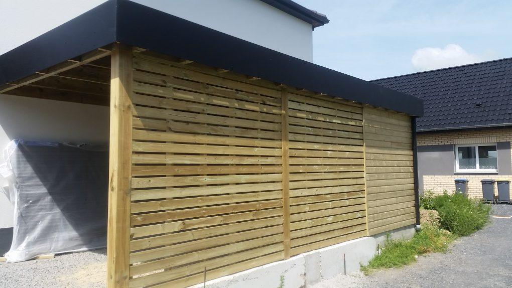 Carport bois avec abri de jardin sur flines lez r ches for Garage mignon flines lez raches